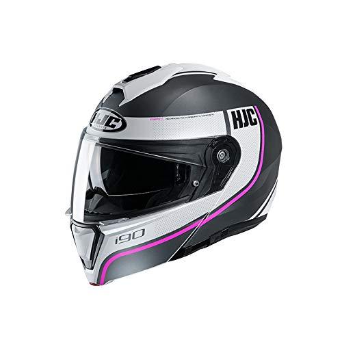 Casco HJC i90 Davan Negro/Blanco/Rosa XS 1